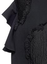 Fil coupé cutout cold shoulder ruffle crepe dress