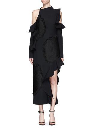 Proenza Schouler-Fil coupé cutout cold shoulder ruffle crepe dress