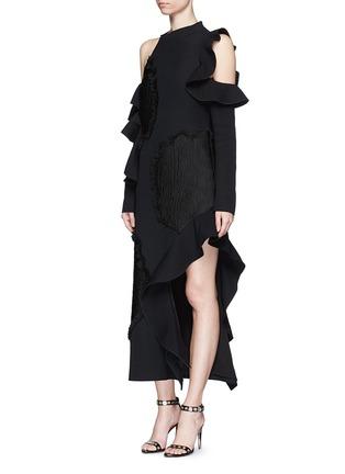 Figure View - Click To Enlarge - Proenza Schouler - Fil coupé cutout cold shoulder ruffle crepe dress