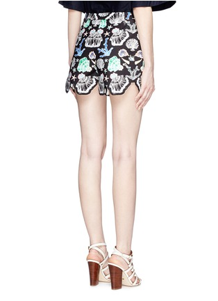Back View - Click To Enlarge - Emilio Pucci - Seashell print cutout cuff shorts