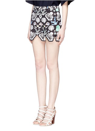 Front View - Click To Enlarge - Emilio Pucci - Seashell print cutout cuff shorts