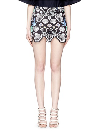 Main View - Click To Enlarge - Emilio Pucci - Seashell print cutout cuff shorts