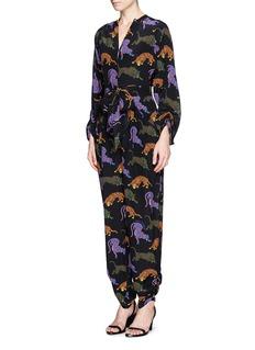 STELLA MCCARTNEYWild cat print silk jumpsuit