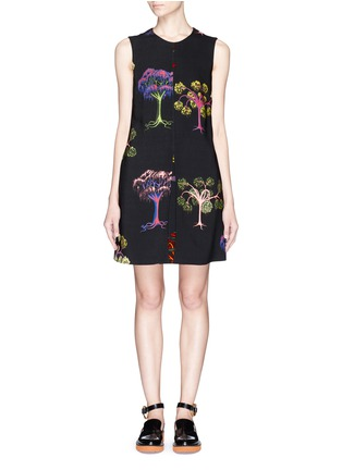 Main View - Click To Enlarge - Stella McCartney - Psychedelic tree print pleat front dress
