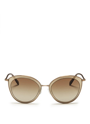 Main View - Click To Enlarge - Oliver Peoples - 'Gwynne' acetate inlay cat eye sunglasses