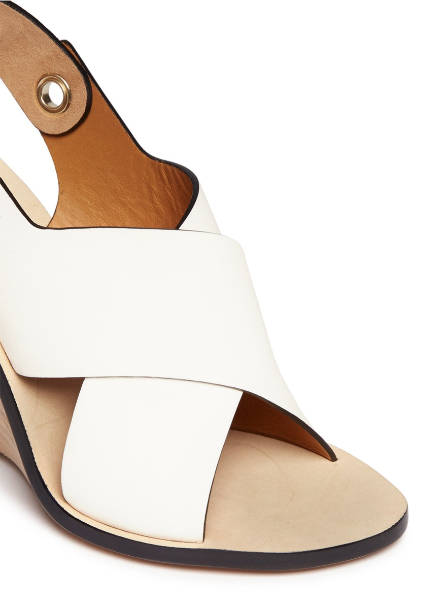 CHLOÉ - Clyde half-wedge sandals - on SALE | White Wedge ...