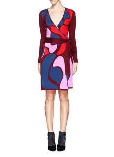 DIANE VON FURSTENBERG 'Linda' abstract floral wool wrap dress