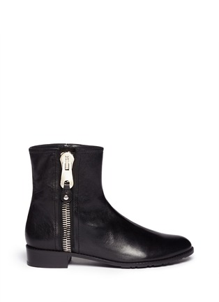 Main View - Click To Enlarge - Stuart Weitzman - 'Winzipper' leather ankle boots