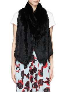 ELIZABETH AND JAMES 'Anna' rabbit fur lamb leather stretch gilet