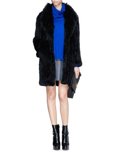 ELIZABETH AND JAMES'Holland' coyote fur drape collar rabbit fur coat