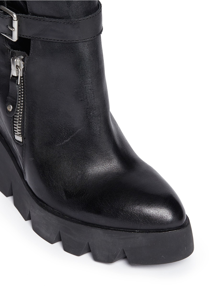 ASH - 'Ricky' leather platform wedge boots - on SALE ...