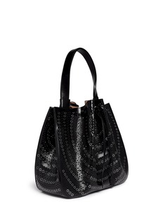 AZZEDINE ALAÏA Grommet perforated leather bucket tote