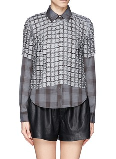ELIZABETH AND JAMES 'Carnie' lace overlay check shirt