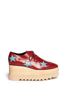 STELLA MCCARTNEY 'Elyse' star perforation wood platform derbies