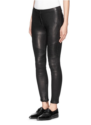 Front View - Click To Enlarge - Elizabeth and James - 'Nanda Moto' lamb leather skinny pants