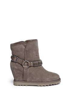 ASH 'Youri' chain shearling wedge ankle boots