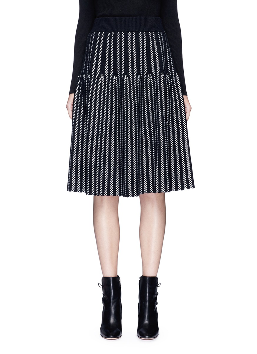 Stripe intarsia wool knit skirt by MO & CO. EDITION 10
