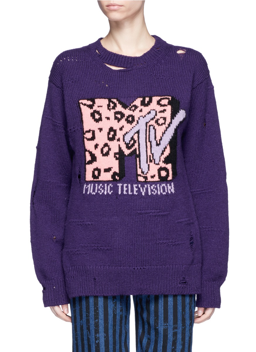 marc jacobs female x mtv logo leopard intarsia woolcashmere sweater
