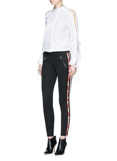 Alexander McQueenFloral print silk satin stripe jersey pants