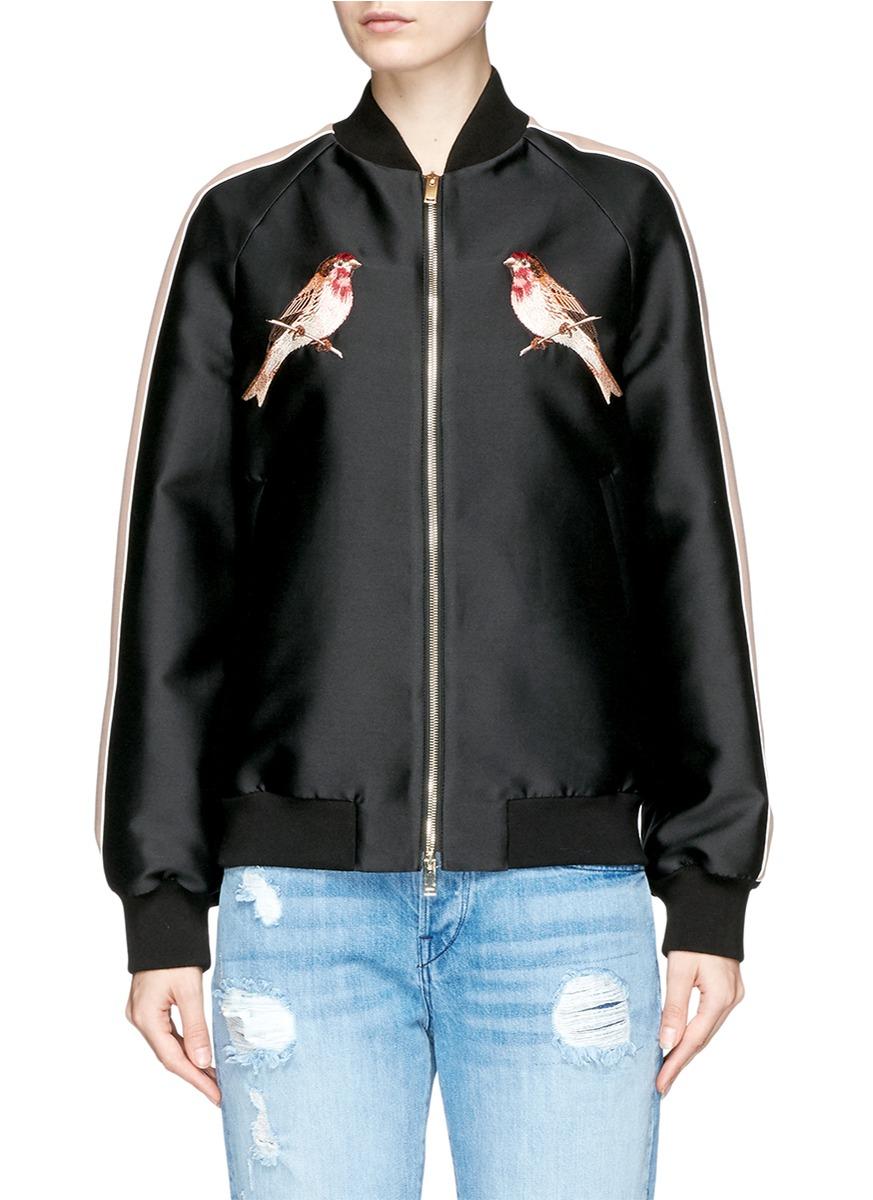 Bird embroidered duchesse satin bomber jacket by Stella McCartney