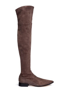 Sigerson Morrison 'Berry' octagon heel suede thigh high boots