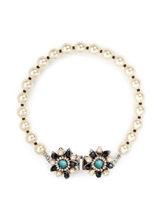 Miriam Haskell Floral clasp glass pearl bracelet