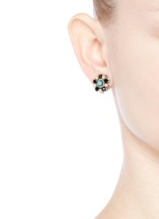 Miriam HaskellSwarovski crystal glass pearl floral stud earrings