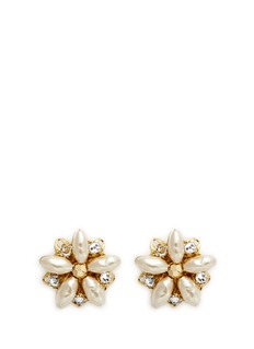 Miriam Haskell Filigree floral Baroque pearl stud earrings