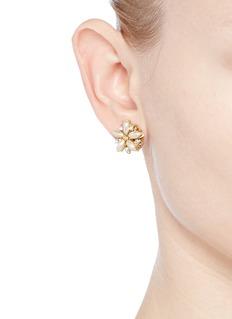 Miriam HaskellFiligree floral Baroque pearl stud earrings