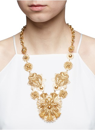 Figure View - Click To Enlarge - Miriam Haskell - Filigree flower statement necklace