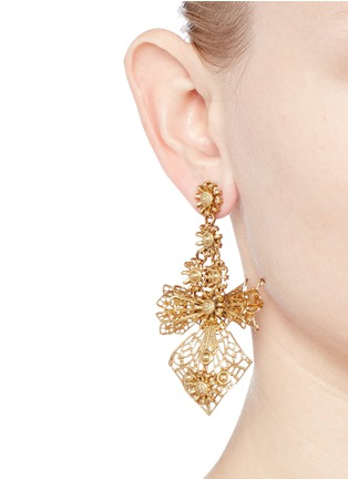 Figure View - Click To Enlarge - Miriam Haskell - Carved floral filigree bow earrings