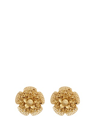 Main View - Click To Enlarge - Miriam Haskell - Filigree pansy flower stud clip earrings