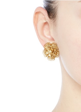 Figure View - Click To Enlarge - Miriam Haskell - Filigree pansy flower stud clip earrings