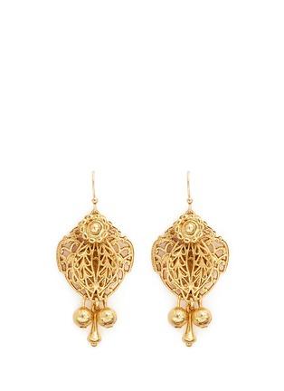 Miriam Haskell-Filigree teardrop leaf drop earrings