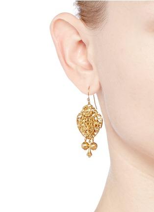 Figure View - Click To Enlarge - Miriam Haskell - Filigree teardrop leaf drop earrings