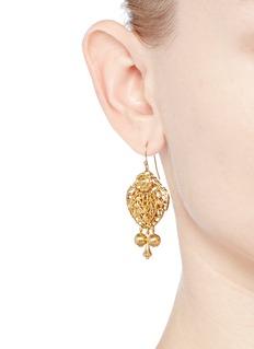 Miriam HaskellFiligree teardrop leaf drop earrings