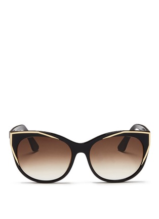 Main View - Click To Enlarge - Thierry Lasry - 'Polygamy' metal corner acetate cat eye sunglasses