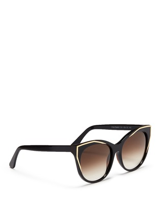 Figure View - Click To Enlarge - Thierry Lasry - 'Polygamy' metal corner acetate cat eye sunglasses