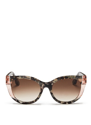 Main View - Click To Enlarge - Thierry Lasry - 'Nevermindy' colourblock shell effect acetate sunglasses