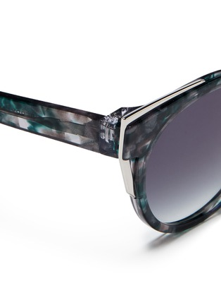 Detail View - Click To Enlarge - Thierry Lasry - 'Monogamy' metal corner marbled acetate sunglasses