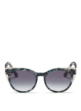 Main View - Click To Enlarge - Thierry Lasry - 'Monogamy' metal corner marbled acetate sunglasses