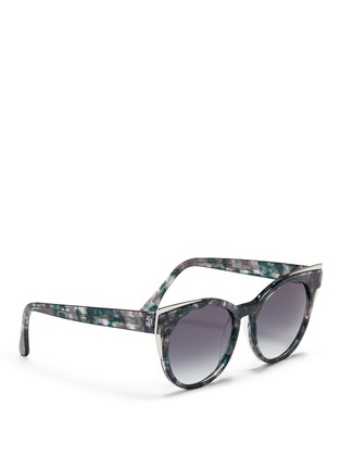 Figure View - Click To Enlarge - Thierry Lasry - 'Monogamy' metal corner marbled acetate sunglasses