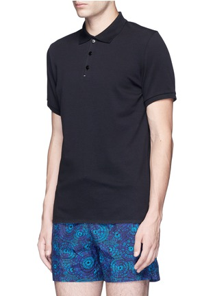 Front View - Click To Enlarge - DANWARD - Raw edge cotton piqué polo shirt