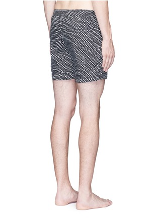 Back View - Click To Enlarge - DANWARD - Mid length geometric print swim shorts