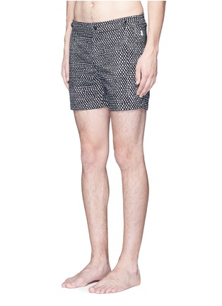 Figure View - Click To Enlarge - DANWARD - Mid length geometric print swim shorts