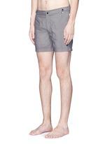 Mid length flat front swim shorts
