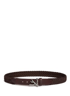 ISAIA Coral buckle braided suede belt