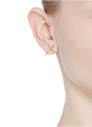 - Stephen Webster - 'Neon Love and Kisses' 18k yellow gold asymmetric earrings