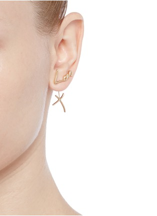 Figure View - Click To Enlarge - Stephen Webster - 'Neon Love and Kisses' 18k yellow gold asymmetric earrings