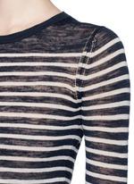 Stripe linen-blend knit sweater